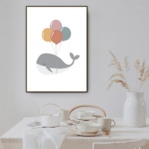 Big Whale Contemporary Kids Modern Framed Painting Portrait Canvas Print for Room Wall Ornament