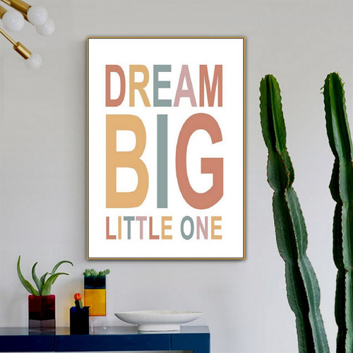 Beau Text Abstract Kids Typography Modern Framed Painting Image Canvas Print for Room Wall Décoration