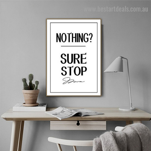 Nothing Typography Quote Modern Framed Artwork Photo Canvas Print for Room Wall Ornament
