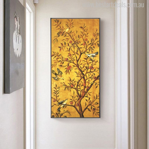 Fortune Tree with Fruits and Cute Little Hued Birds Painting Print for Living Room Wall Decoration