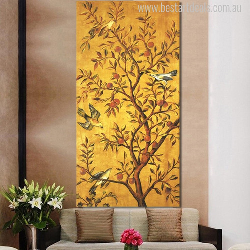 Fortune Tree with Fruits and Cute Little Hued Birds Painting Print for Wall Adornment