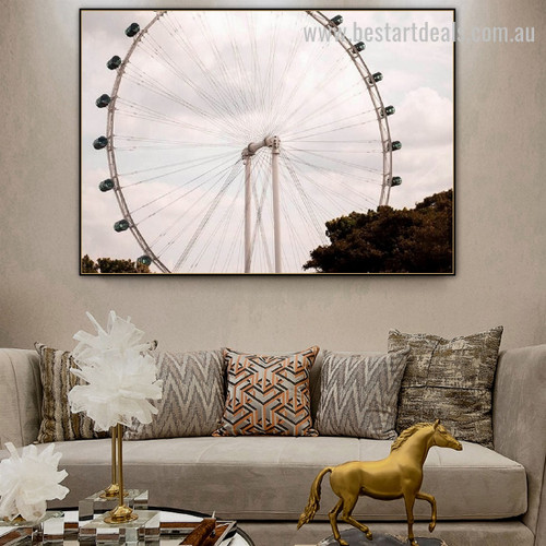 Singapore Flyer Landscape Nature Framed Painting Pic Canvas Print for Room Wall Flourish