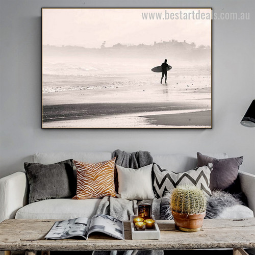 Coast Man Contemporary Nature Framed Painting Image Canvas Print for Room Wall arrangement