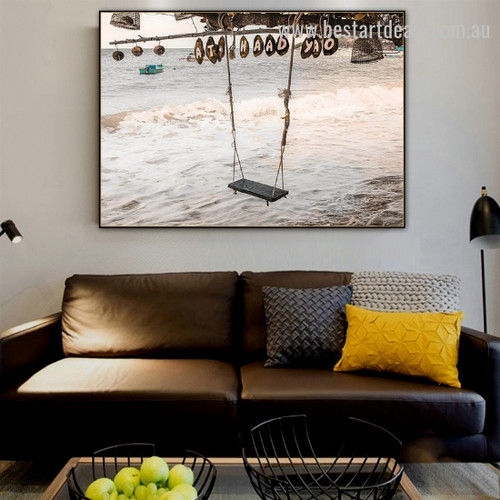 Swing Contemporary Landscape Nature Framed Painting Portrait Canvas Print for Room Wall Tracery