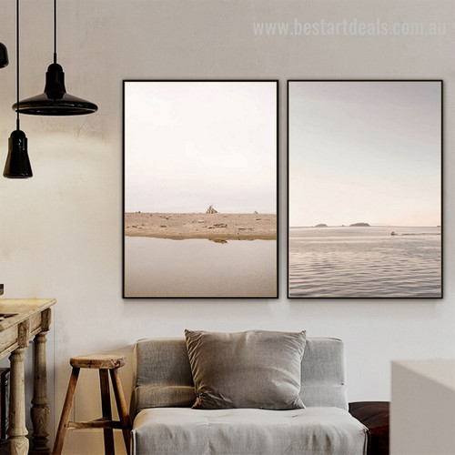 Seafront Mudflat Landscape Nature Framed Painting Picture for Room Wall Moulding