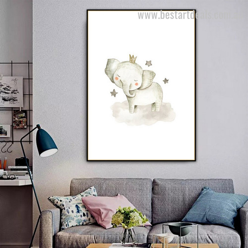 Cute Elephant Abstract Animal Modern Framed Painting Photo Canvas Print for Room Wall Ornamentation