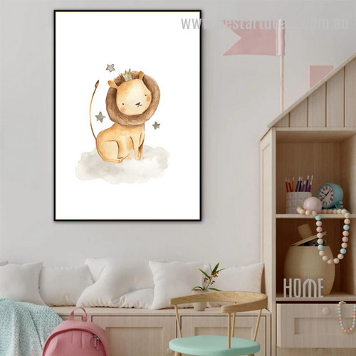 Cartoon Lion Animal Abstract Modern Framed Painting Pic Canvas Print for Room Wall Arrangement