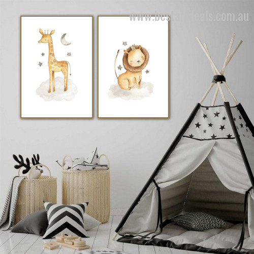 Giraffe Lion Animal Abstract Modern Framed Painting Picture Canvas Print for Room Wall Ornamentation