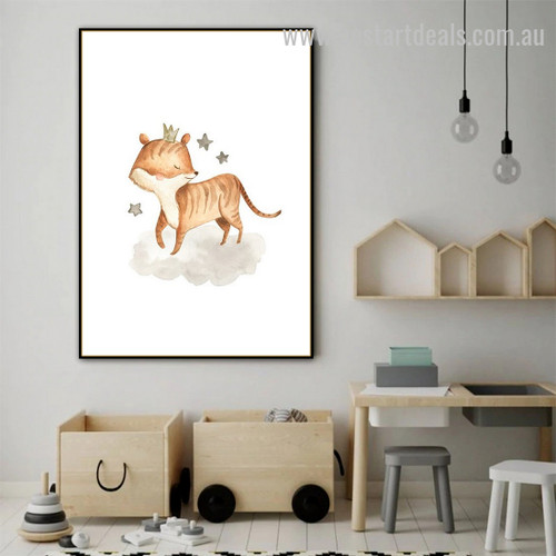 Crown Tiger Animal Abstract Modern Framed Artwork Photo Canvas Print for Room Wall Onlay
