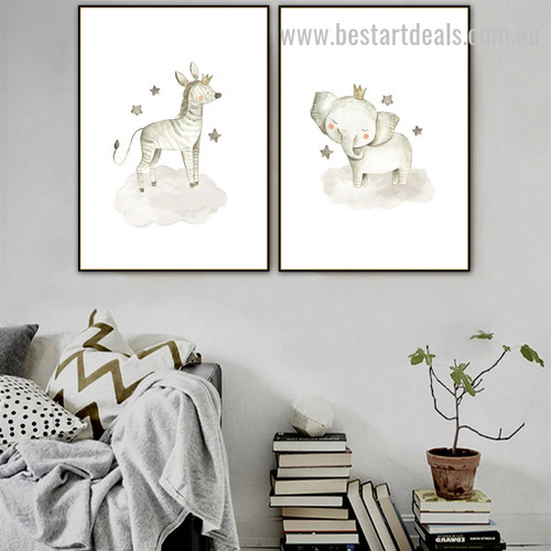 Zebra And Elephant Animal Abstract Modern Framed Artwork Portrait Canvas Print for Room Wall Onlay