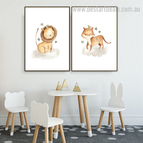 Two Cute Caricatures Animal Abstract Modern Framed Painting Pic Canvas Print for Room Wall Arrangement