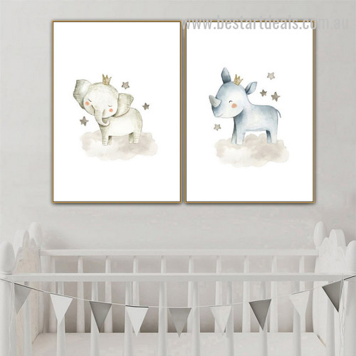 Ellie And Rhino Animal Abstract Modern Framed Painting Portrait Canvas Print for Room Wall Molding
