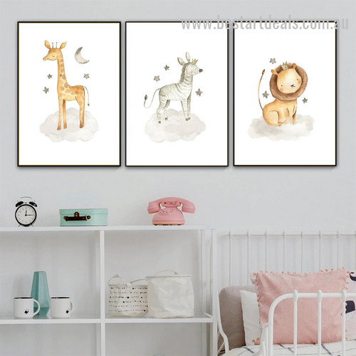 Bloco Animalia Animal Abstract Modern Framed Painting Pic Canvas Print for Room Wall Garniture