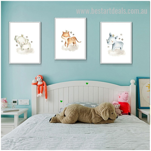Three Crowned Faunas Animal Abstract Modern Framed Painting Picture Canvas Print for Room Wall Arrangement