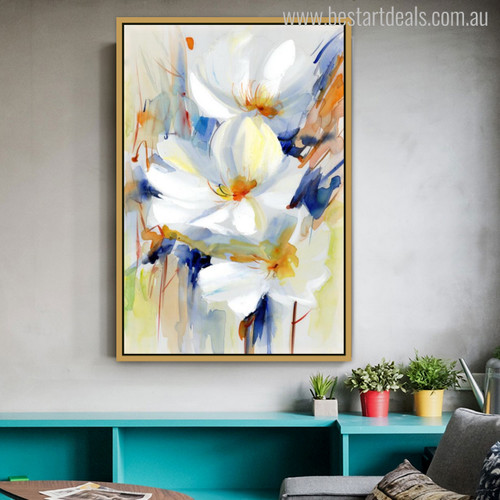 Lily Modern Gaudy Watercolor Painting Print for Living Room Decor