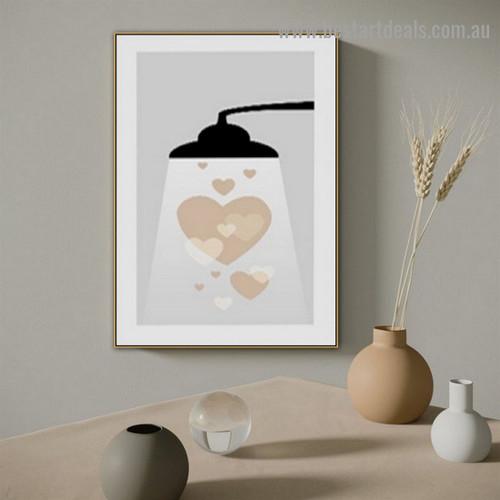 Heart Shape Lamp Abstract Scandinavian Framed Artwork Photo Canvas Print For Room Wall Ornament
