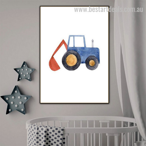 Cute Machine Kids Watercolor Framed Painting Pic Canvas Print for Room Wall Ornament