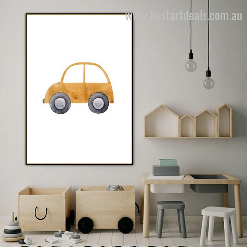 Toy Car Kids Watercolor Framed Painting Picture Canvas Print for Room Wall Arrangement