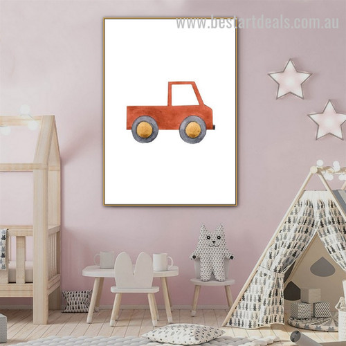 Truck Kids Watercolor Framed Painting Picture Canvas Print for Room Wall Decor