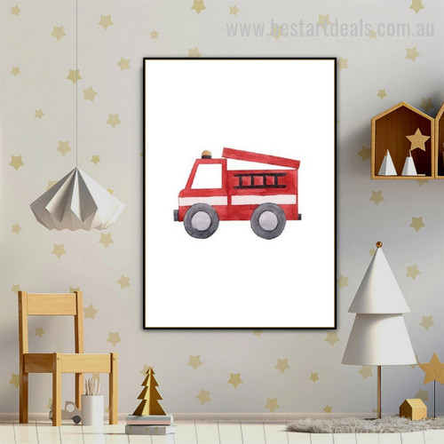 Fire Truck Kids Watercolor Framed Painting Image Canvas Print for Room Wall Ornamentation