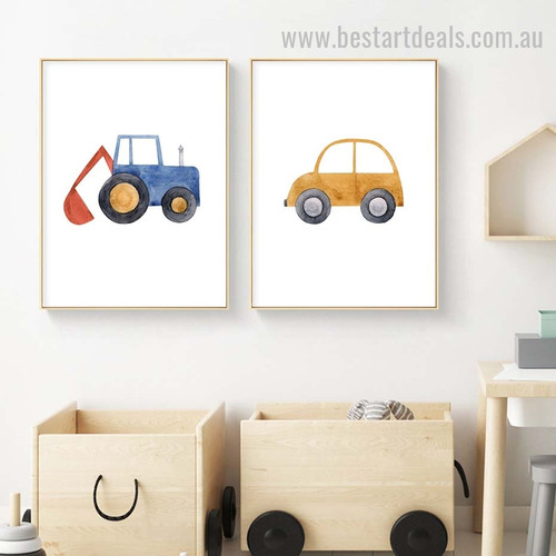 Four Wheels Kids Watercolor Framed Painting Picture Canvas Print for Room Wall Arrangement