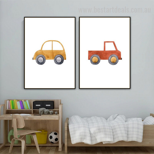 Cute Machine Toys Kids Watercolor Framed Painting Photo Canvas Print for Room Wall Garnish