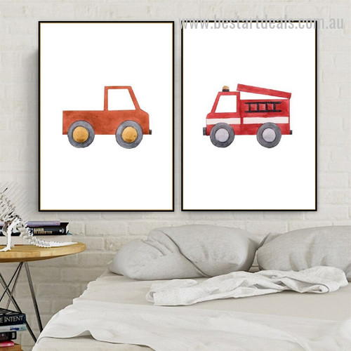Red Trucks Kids Watercolor Framed Artwork Image Canvas Print for Room Wall Ornament