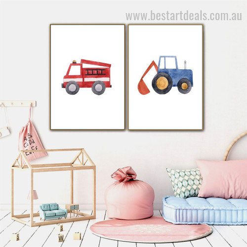 Bauble Gadgets Kids Watercolor Framed Painting Photo Canvas Print for Room Wall Moulding