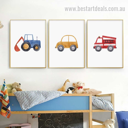Playthings Kids Watercolor Framed Painting Picture Canvas Print for Room Wall Decoration