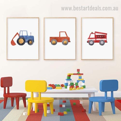 Big Loaders Kids Watercolor Framed Artwork Photo Canvas Print for Room Wall Arrangement