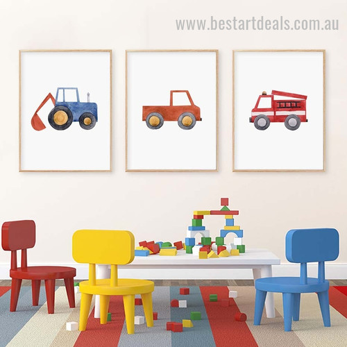 Big Loaders Kids Watercolor Framed Artwork Photo Canvas Print for Room Wall Arrangement
