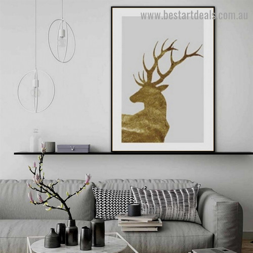 Royal Stag Animal Nordic Framed Artwork Photo Canvas Print for Room Wall Decoration