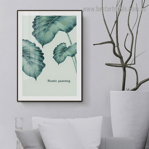 Faded Green Leaves Botanical Nordic Scandinavian Framed Artwork Portrait Canvas Print for Room Wall Decor