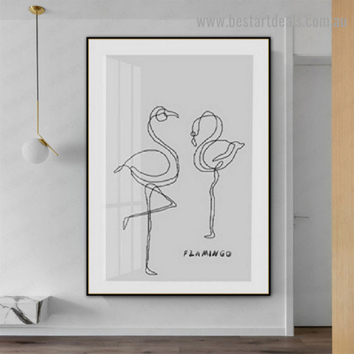 Greater Flamingo Bird Nordic Scandinavian Framed Artwork Portrait Canvas Print for Room Wall Decor
