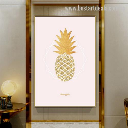 Resplendent Pineapple Abstract Nordic Framed Artwork Portrait Canvas Print for Room Wall Flourish