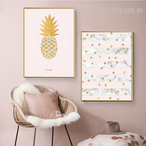 Gold Pink Ananas Abstract Nordic Framed Artwork Photo Canvas Print for Room Wall Decoration