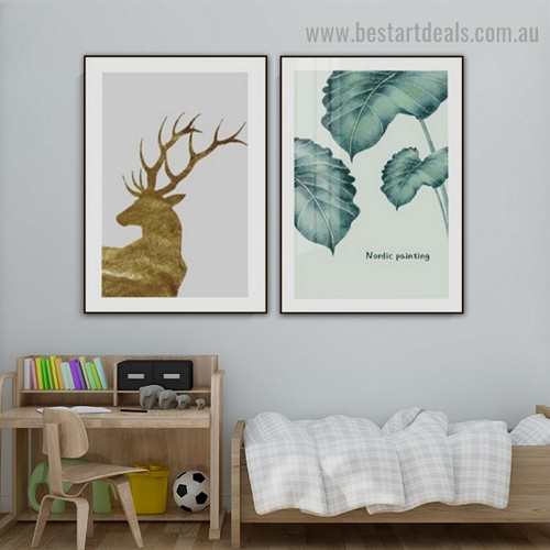 Swamp Deer Animal Nordic Scandinavian Framed Artwork Portrait Canvas Print for Room Wall Décor