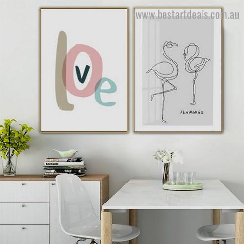 Fondness Love Typography Modern Framed Artwork Portrait Canvas Print for Room Wall Decor