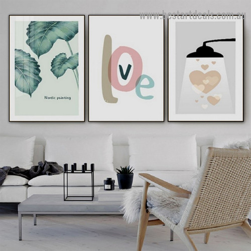 Dull Green Leafage Botanical Nordic Scandinavian Framed Artwork Portrait Canvas Print for Room Wall Decor