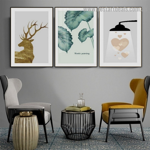 Colorless Green Leafs Botanical Nordic Scandinavian Framed Artwork Picture Canvas Print for Room Wall Decoration