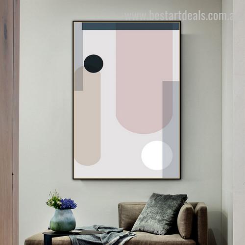 Black Circle Abstract Minimalist Scandinavian Framed Artwork Portrait Canvas Print for Room Wall Flourish