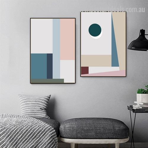 Boxes And Trigons Abstract Minimalist Scandinavian Framed Painting Picture Canvas Print for Room Wall Arrangement