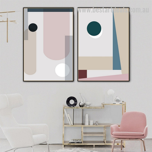 Hued Shades Abstract Minimalist Scandinavian Framed Artwork Picture Canvas Print for Room Wall Molding