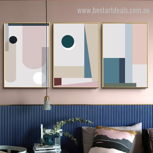 Colorific Shades Abstract Minimalist Scandinavian Framed Painting Photo Canvas Print for Room Wall Flourish