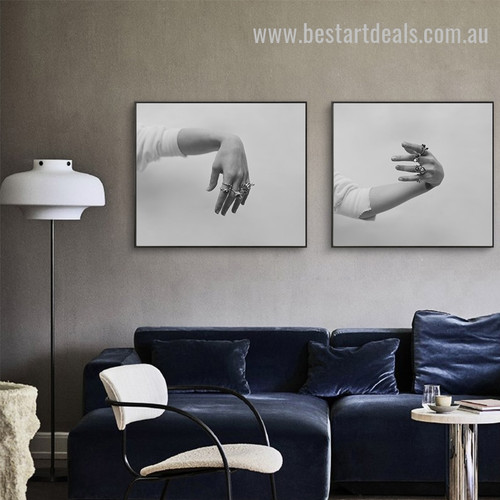 Hands With Rings Abstract Figure Vintage Framed Painting Picture Canvas Print for Room Wall Ornament