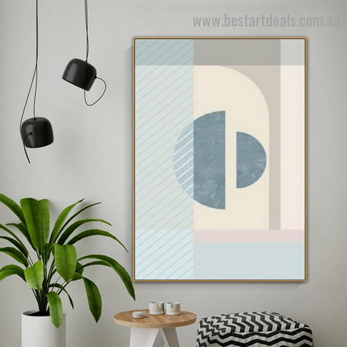 Semicircles Abstract Minimalist Scandinavian Framed Painting Portrait Canvas Print for Room Wall Ornament
