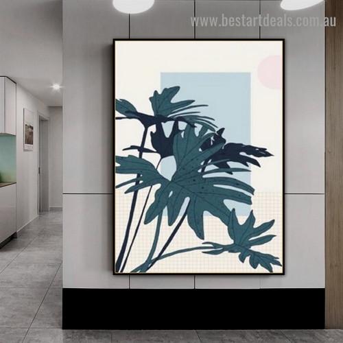 Dark Green Plants Botanical Scandinavian Framed Artwork Portrait Canvas Print for Room Wall Décor