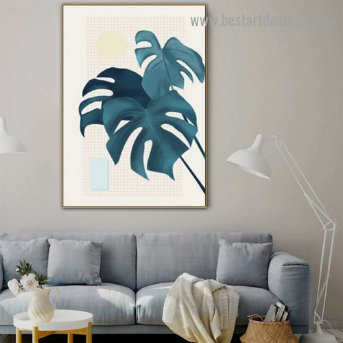 Monstera Leaves Botanical Scandinavian Framed Artwork Portrait Canvas Print for Room Wall Décor