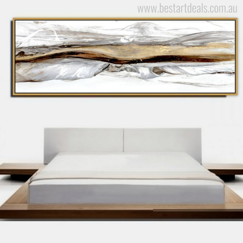 Abstract Mountains Gaudy Colors Recent Watercolor Painting Print for Bedroom Decor