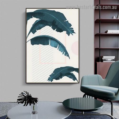 Sago Palm Leaves Botanical Scandinavian Framed Artwork Photo Canvas Print for Room Wall Ornament